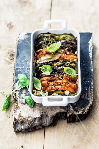 Vegetable tian with basil and thyme