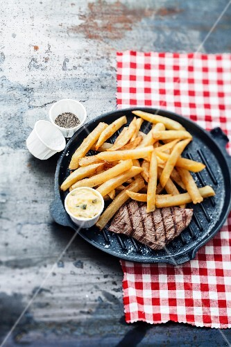 French fries and rump steak