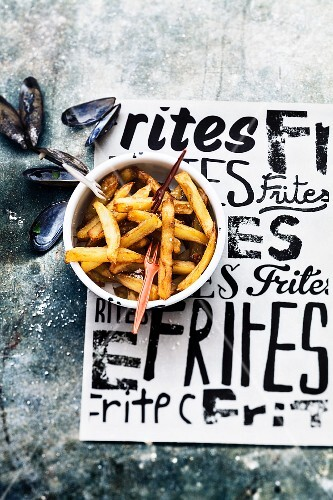 French fries and mussels