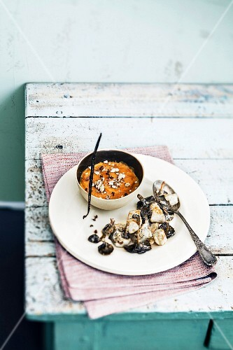 Small sweet potato flan,chicken and mushroom fricassée