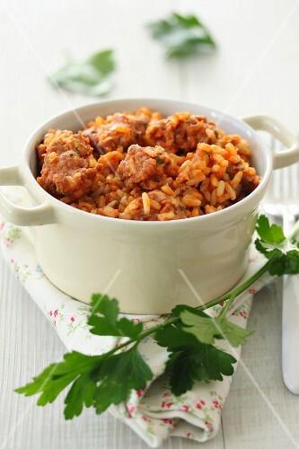 Meatballs and tomato in tomato sauce