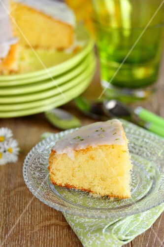 Slice of lime frosted cake
