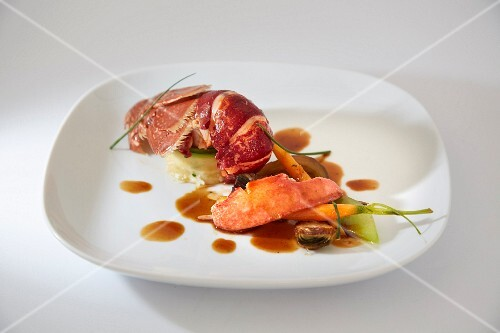 Lobster tail with vegetables