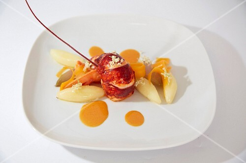 Lobster with yellow carrots