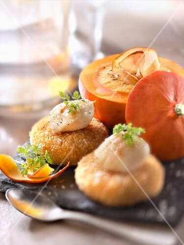 Roasted breaded scallops,pumpkin sauce