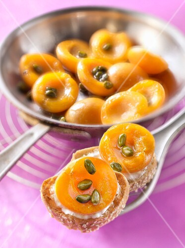 Roasted apricot,almond milk and pistachio bites