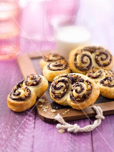 Small chocolate and hazelnut twirls