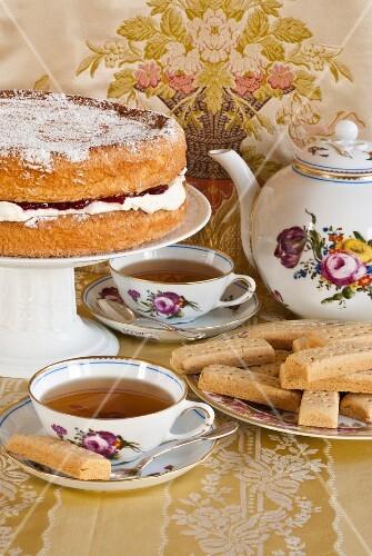 Shortbreads and sponge cake for tea