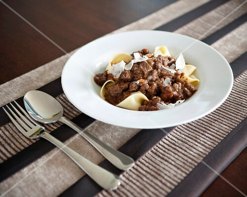 Papardelle with beef stew and parmesan