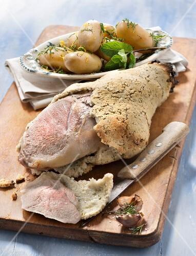Leg of lamb in salt crust