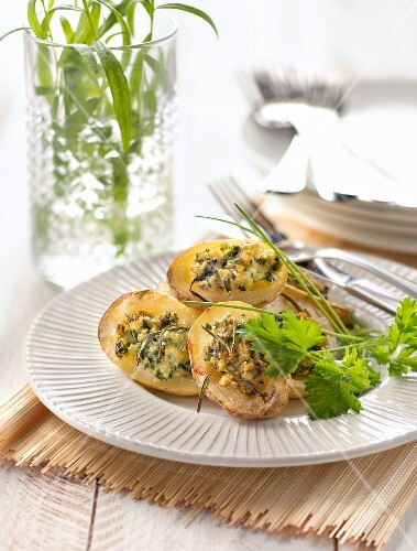 Potatoes stuffed with ground chicken breasts and fresh herbs