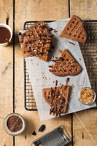 Chocolate waffles with tonka beans