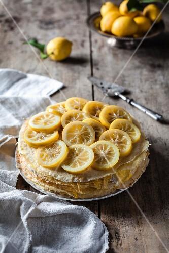 Lemon curd pancake cake