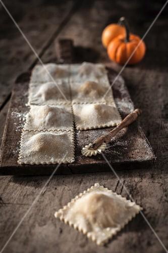 Preparing pumpkin raviolis