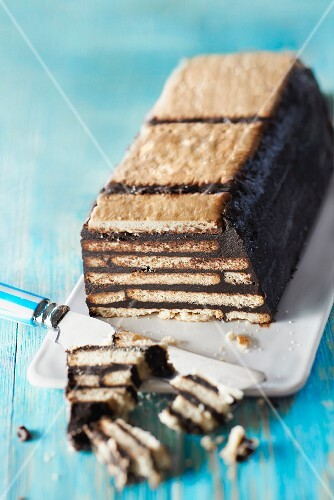 Chocolate and rich tea biscuit terrine