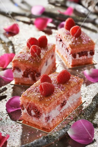 Raspberry and rose water individual log cakes