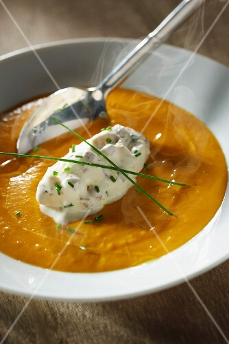 Creamed pumpkin soup and Bavaroise à l'andouille de Vire