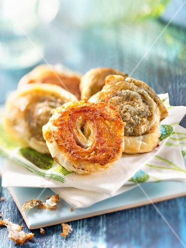Small flaky pastry Roquefort rolled appetizers