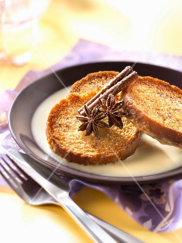 Crisp french toast with spicy custard