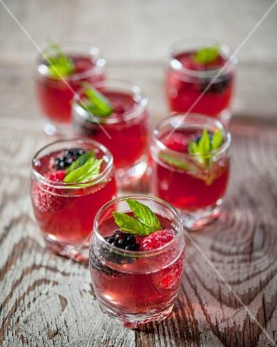 Glasses of summer fruit cordial