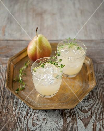 Glasses of pear juice