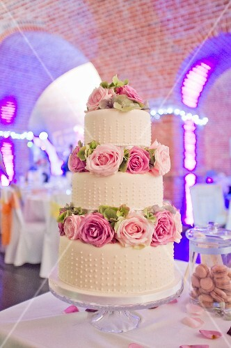 Wedding cake in a reception room