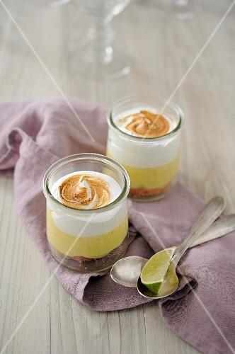 Lime meringue pots