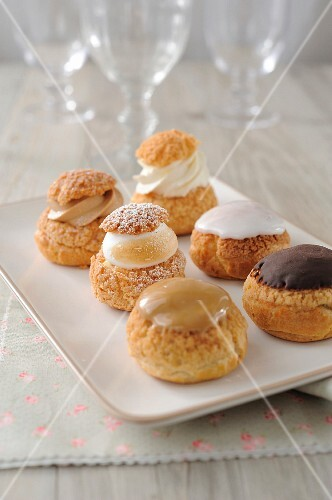 Assortment of cream puffs