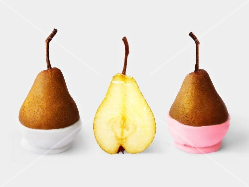 Pears in icing cups