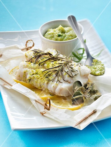 Piece of cod cooked in wax paper,lettuce puree