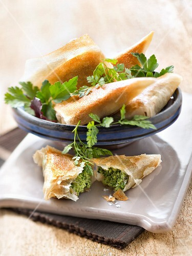 Veal,spinach and parsley filo pastry triangles