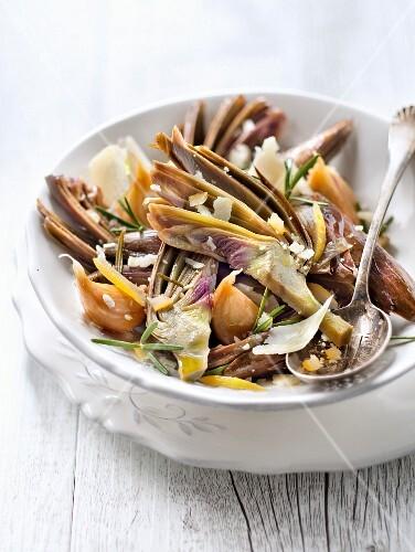 Purple artichoke,confit citrus,garlic,rosemary and parmesan casserole