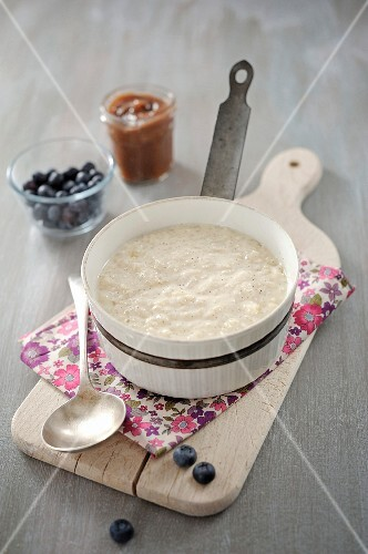 Saucepan of homemade rice pudding