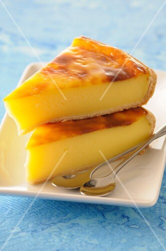 Slices of baked egg custard pie