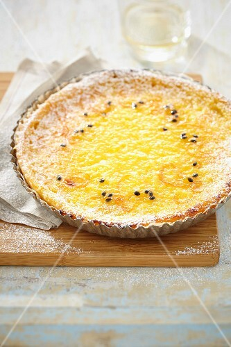 Oranges and passion fruit tart