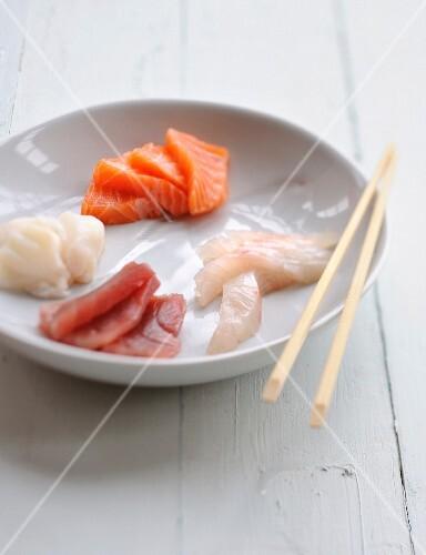 Assortment of fish sashimis