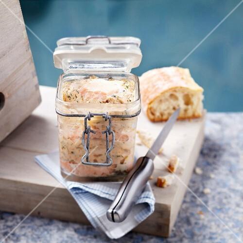 Jar of salmon terrine