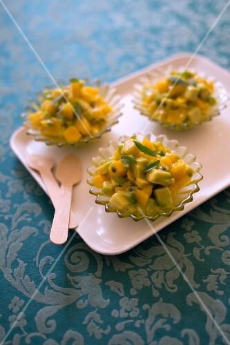 Avocado-mango tartare with passionfruit
