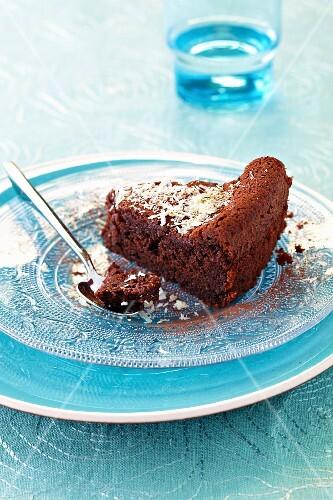 Slice of express chocolate cake