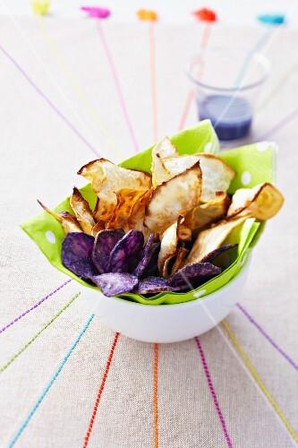 Purple potato and celeriac crisps