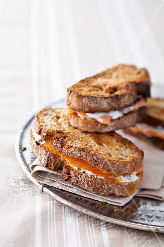 Smoked salmon and herby horseradish sauce toasted sandwich