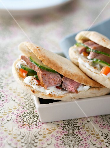 Lamb,vegetable and Greek yoghurt pitta bread sandwich