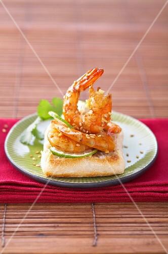 Marinated shrimp with sesame seeds on toast