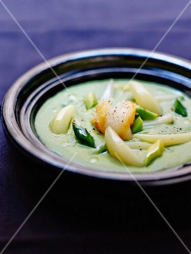 Vichyssoise with haddock,leeks and potatoes