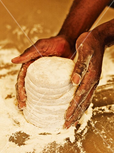 Preparing pitta bread