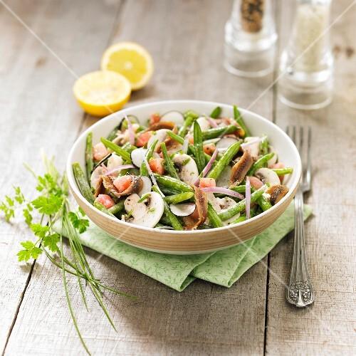 Green bean,mushroom and anchovy salad