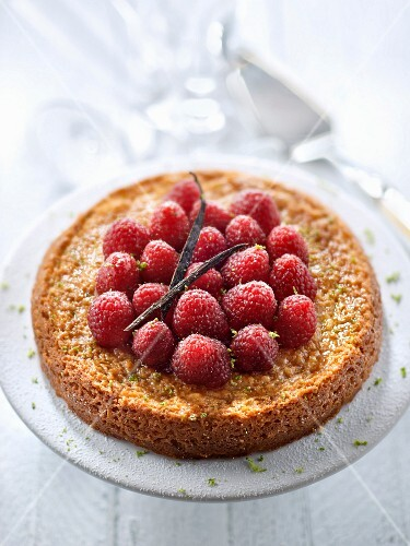 Gluten-free lime sponge cake topped with raspberries