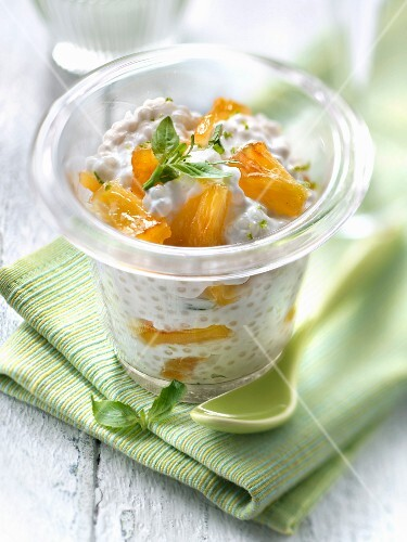 Gluten-free caramelized pineapple Japanese pearl coconut milk pudding