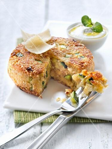 Gluten-free quinoa,zucchini and parmesan savoury cake