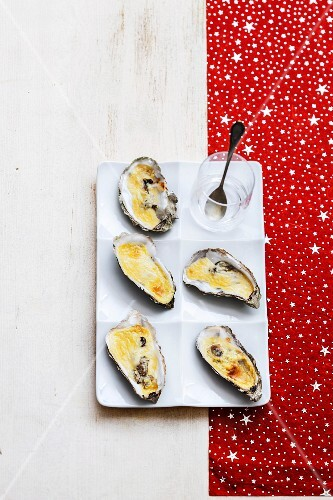 Hot oysters in Champagne sabayon